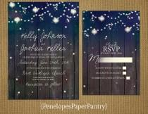 wedding photo - Elegant Rustic Summer Wedding Invitation,Starry Sky,Strings of Lights,Glowing Lanterns,Fire Flies,Opt RSVP Card,Customizable With Envelopes