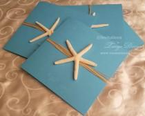 wedding photo - DESTINATION wedding invitation suite. Kraft invitation aqua Pocketfold invitation STARFISH beach wedding invites x50 sets. Beach Sweet 16