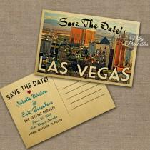 wedding photo - Las Vegas Save The Date Postcards - Vintage Travel Vegas Save The Date Postcards - Printable Retro Destination Wedding Save The Dates VTW