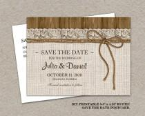 wedding photo - Printable Rustic Wedding Save The Date Postcard, Burlap Wedding Save The Date Postcard, Burlap And Lace Wedding Save The Date Postcard