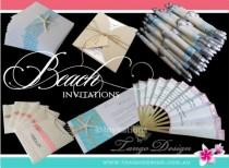 wedding photo - BEACH wedding invitations. DESTINATION wedding Invites. Party by the BEACH birthday Boat tropical elegant invites Australia Uk Usa 3SAMPLES