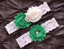 wedding photo - Wedding Garter, Bridal Garter Set - Ivory Lace Garter, Emerald Green Wedding Garter, Emerald Wedding Garter, Emerald Garter, Ivory Garter