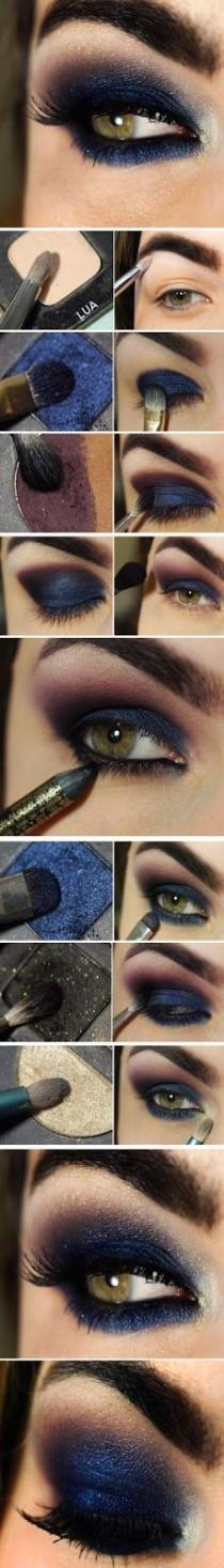 wedding photo - DIY Navy Blue Eye Makeup Makeup Eye Shadow How To Diy Makeup Eye Makeup Eye Liner Makeup Tutorials Eye Makeup Tutorials
