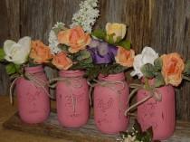 wedding photo - Painted mason jar decorations centerpiece wedding vases rustic wedding cottage chic barn wedding centerpieces