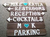 wedding photo - Wedding signs w/stakes Reception decorations wooden directional signage engagement country baby bridal shower outdoor barn wood reclaimed