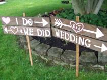 wedding photo - Wedding Sign I DO WE Did rustic 4 Barn wood Party ceremony decorations reception Signage w/ Stakes country outdoor reclaimed
