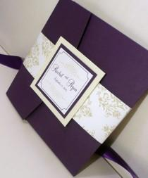 "wedding photo - Pocketfold Wedding Invitation / Dark Purple Invites / Mint and Purple Wedding / Damask Invitation / ""J'adore"" Damask Invitation Sample"