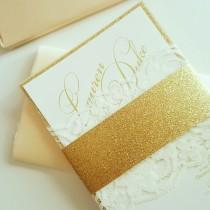 wedding photo - Gold Glitter and Lace Wedding Invitations, Lace Wedding Invitations, Gold Glitter Invites - Gold Glitter & Lace Invitation Sample