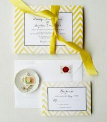 wedding photo - Yellow Wedding Invitations, Chevron Invites, Yellow and Black - Lemon Chevron Invitation Sample, Featured on Country Living