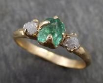 wedding photo - Three raw Stone Diamond Emerald Engagement Ring 14k Gold Wedding Ring Uncut Birthstone Stacking Ring Rough Diamond Ring byAngeline 0415