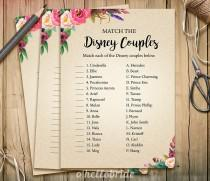 wedding photo - Disney Couples Match Game - Printable Boho Bohemian Bridal Shower Love Song Game  - Bridal Shower Party Game - Bachelorette Party Games 003