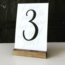 wedding photo - Table number holder, wood sign holder, menu holder, wood table number, wood card holder