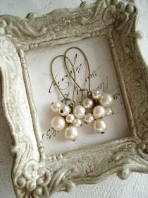 wedding photo - Pearl Cluster Earrings. Shabby Vintage Bohemian Glass Champagne Pearl Earrings. Rustic Wedding. Eco Friendly Jewelry. PreciousPastimes.