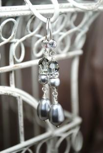wedding photo - Long Pearl Bridal Earrings, Light Grey Swarovski Dangle Earrings, Bridal Jewelry, Wedding Earrings, Special Occasion