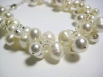 wedding photo - Bridal Bracelet, Ivory Freshwater Pearl Cluster Bracelet, Beach Wedding Jewelry, Swarovski Pearls Crystals, Grace Bracelet B218B09