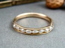wedding photo - solid 14k gold petite pearl stack ring