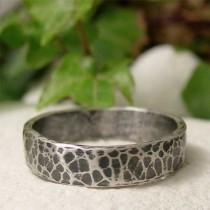 wedding photo - Hand Hammered Silver Ring, Oxidized Silver Ring Band, Hand Forged Blackened Silver, Mens Ring, Womens Ring, Rustic Hammered Silver Jewelry