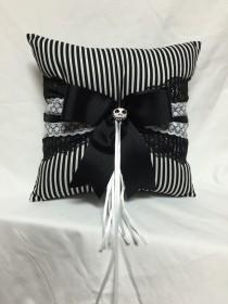 wedding photo - Skeleton Stripes in black and white Print wedding Ring Bearer Pillow
