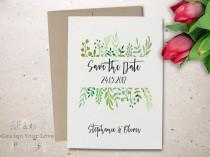 wedding photo - printable save the date printable greenery save the date leafy wreath garden wedding green wedding calligraphy invitation save our date