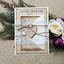wedding photo - KATI - Burlap & Lace Wedding Invitation - Rustic Country Invitation with Ivory Lace Wrap and Kraft Heart - Lace Belly Band - Antiqued Edges