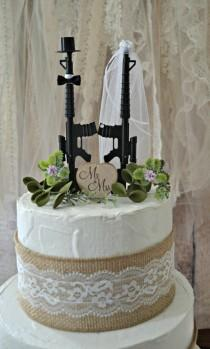 wedding photo - Machine gun weapon wedding cake topper army police themed hunting groom's cake Mr & Mrs sing the hunt is over gun decorations military sign