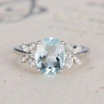 wedding photo - Oval Engagement Ring White Gold Aquamarine Ring Diamond Butterfly March Birthstone Anniversary Micro Pave Oval Cut Wedding Bridal Ring