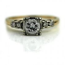 wedding photo - 1940s Antique Diamond Ring 14K Two Tone Engagement Ring .65ctw European Cut Delicate Dainty Diamond Simple Engagement Ring Vintage Ring