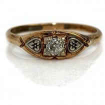 wedding photo - Dainty Engagement Ring Antique Diamond Ring .25ctw 1940s Art Deco Promise 18K Two Tone Gold Ring Dainty Engagement Ring Vintage Petite Ring!