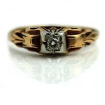 wedding photo - Petite Diamond Ring .10ctw Art Deco Simple Engagement Ring Antique Diamond Ring Dainty Diamond Ring 1940s 14K Two Tone Ring Size 5.5!