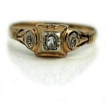wedding photo - Simple Diamond Ring .10ctw Antique Simple Engagement Ring Antique Diamond Ring Dainty Diamond Ring 1940s 14K Two Tone Ring Size 5.5!