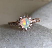 wedding photo - Fire Opal Rose Gold Ring- Opal Engagement Ring- Promise Ring- Wedding Ring- Halo Ring- Rose Gold Ring- Bridal Ring- October Birthstone Ring