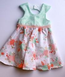 wedding photo - Mint Green Lace bodice with Flower Skirt (Perfect for flower girl dress!)