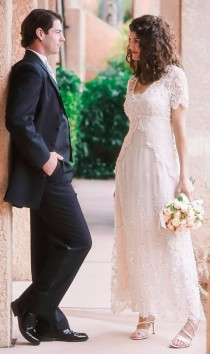 wedding photo - Lace Wedding Dress With Embroidered Tulle, Cap Sleeves And Empire Waist. Casual Wedding Dress. Backyard Wedding Dress. Plus Sizes Available
