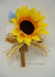 wedding photo - Sunflower Burlap Boutonniere,Rustic Woodland Wedding,Straw Bow Mens Flower Buttonhole,FFT original, Made to order
