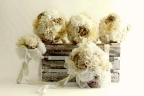 wedding photo - Tans ivory bouquet set, bridal bouquet, bridesmaids bouquets, boho wedding, natural colors bouuqet