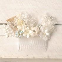 wedding photo - Lace Bridal Headpiece, Ivory Hair Piece, Beaded Wedding Hair Comb, Lace Hair Piece, Bridal Hair Accessory - Lydia - Lace Floral Head Piece