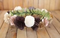 wedding photo - Ivory Brown Champagne  Flower Crown, Boho Crown, Wedding Crown, Flower Girl Crown, Birthday Crown, Paper Headdress, Wooden Flowers Crown