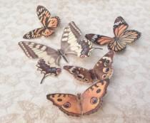 wedding photo - Hand cut silk butterfly hair clips with Swarovski crystal - Set 5 Autumnal browns and coppers