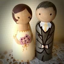 wedding photo - Deposit - Custom Personalized Wedding Couple Cake Topper Wooden Hand Painted Couple