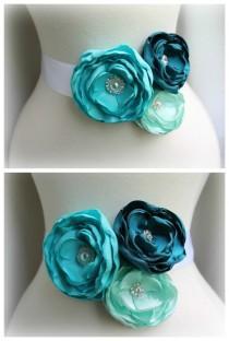 wedding photo - Bridal Floral Sash Belt - Teal Turquoise Aqua Blue - Crystal Rhinestone Pearl - Bridesmaids Sashes - Romantic Wedding - Many Colors
