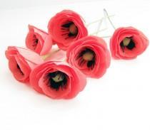 wedding photo - Pink crepe paper flower, Pink poppies, Wedding flower, Pink flower, Paper poppies, Coral poppies, Flower centerpiece, Paper flower interior