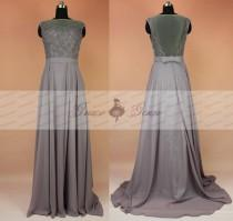 wedding photo - Lace Chiffon Formal Bridesmaid Dresses,Sexy Grey Evening Dress 2017,Country Bridesmaid Dress,Gray Cheap Sheer Back Tull Backless Prom Gown