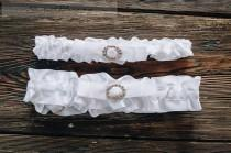 wedding photo - Wedding Garter Set Bow and Rhinestone Buckle Garter Satin Ribbons White Organza Garter Rhinestone Bridal Garter with brooch Romantic garters
