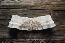 wedding photo - White Garter Wedding Garter Ivory Wedding Garter Ivory Goffer Lace Luxurious Applique Garter Crystal Garter Rhinestone Garter Bridal Garter