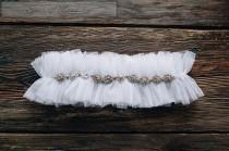 wedding photo - Wedding garter Veiling bridal garter Ivory tulle garter White tulle garter Rhinestone Bridal Garter with Rhinestones popular accessory