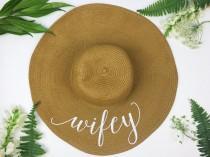 wedding photo - Floppy Sun Hat - Sequin Sun Hat - Bride Hat - Wifey hat - Custom floppy hat - Bride to be hat - Beach Bride - Just Married Hat - Honeymoon