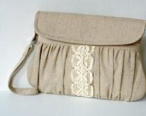 wedding photo - Rustic style linen and lace clutch - bridesmaid gift - wedding clutch