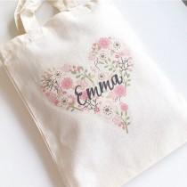wedding photo - Flower Girl Bag, Wedding Bag, Girls Gift Bag, Personalised Party Bag, Wedding Favour Bag, Flower Girl Thank You Gift, Name Bag, Gift Bag
