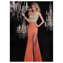 wedding photo - Chic Tulle & Chiffon Illusion High Sheath Evening Dresses With Beads & Rhinestones - overpinks.com