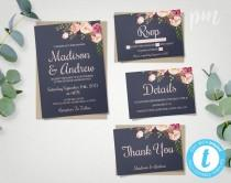 wedding photo - Blue Floral Wedding Invitation Template Set, Floral Wedding Invite, Instant Download, Printable Invitation, Easy to Edit Wedding Invites